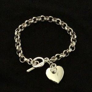 NWT Charter Club Silver Tone Toggle Heart Bracelet